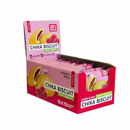 Bombbar CHIKALAB Печенье неглазированное с начинкой 50 г Бисквит лесная малина