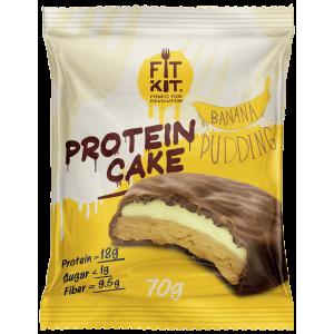Печенье глазированное Fit Kit Protein Cake 70г Банановый пудинг