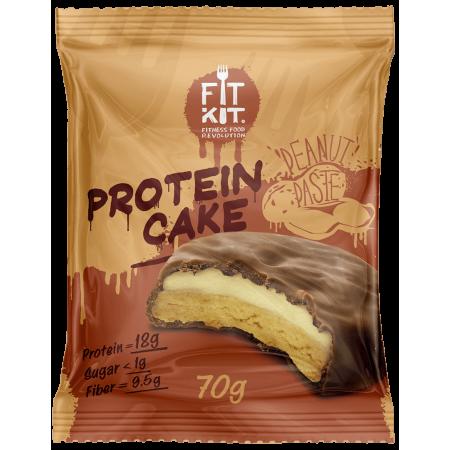 Печенье глазированное с начинкой FITKIT Protein cake 70г Арахисовая паста