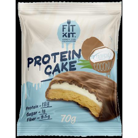 Печенье глазированное с начинкой FITKIT Protein cake 70г Тропический кокос