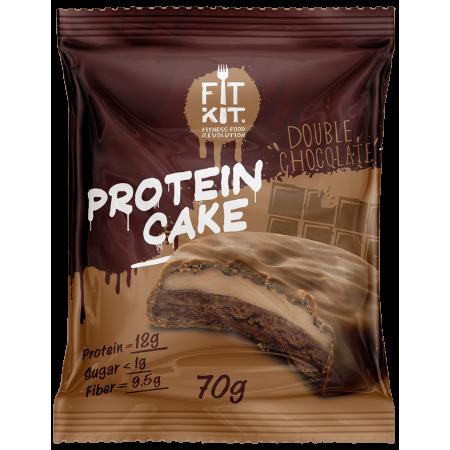 Печенье глазированное с начинкой FITKIT Protein cake 70г Двойной шоколад
