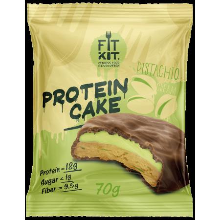 Печенье глазированное с начинкой FITKIT Protein cake 70г Фисташка