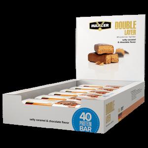 Батончик протеиновый  Maxler Double Layer Bar 60г  соленая Карамель с шоколадом