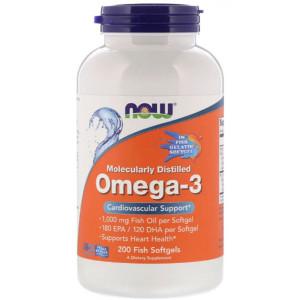 Омега-3 NOW Omega 3 1000 mg 200 капсул