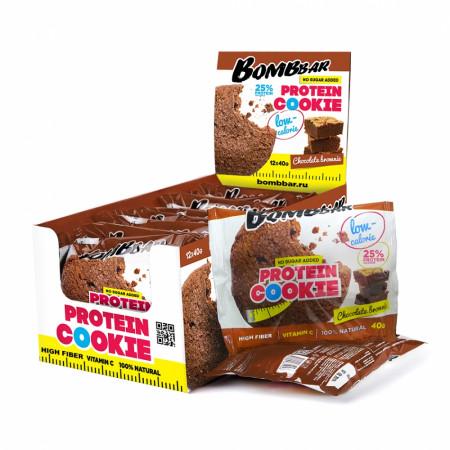 Bombbar Протеиновое печенье (12 шт шоубокс) 40 г Шоколадный брауни