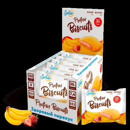 Solvie Protein Biscuits 40г банан-клубника
