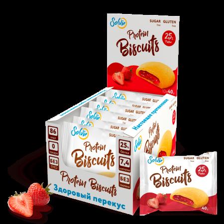 Печенье с начинкой Solvie Protein Biscuits 40г Клубника